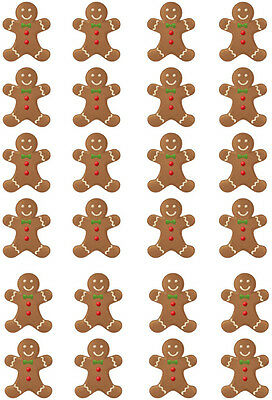 24 Gingerbread Man Christmas Edible Wafer Paper Cupcake Toppers