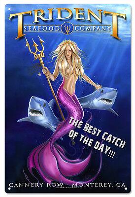 Mermaid Trident Seafood Company Aluminum Garage Art Sign