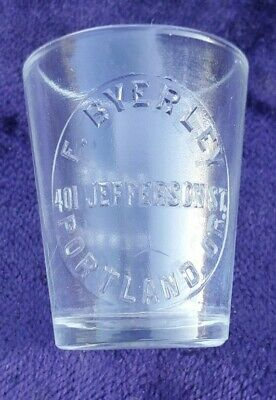 Antique Embossed Medical Dose Glass F. BYERLEY PORTLAND ORE Oregon W.T. Co.