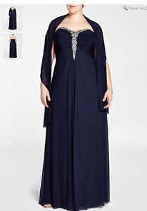 Beautiful navy blue gown, size 18 plus, Laura brand.