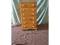 2 x wooden chest of drawers