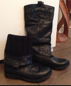 Topshop Leather Biker Boots Size 4