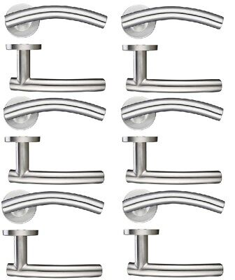Stainless Steel Arched Lever on Rose Door Handle Pack of 6 Arched Stainless Steel Door
