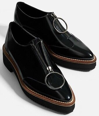ZARA Real LEATHER BLUCHERS WITH RING PULL-TAB Loafers Oxfords US10,EU41 5323/101 for sale  Shipping to Nigeria