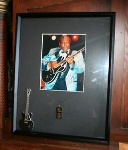 Autographed BB King Framed 2002 World Tour Photo w Mini Guitar