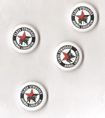 1x Class Struggle Animal Liberation Button Red Star