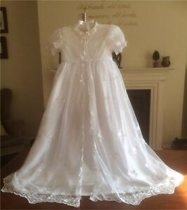 NEW WHITE BAPTISM CHRISTENING GOWN DRESS VINTAGE VICTORIAN STYLE 0-12 M £39.99