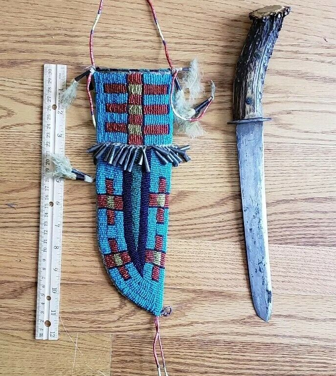 """Native American 19th Century Large Beaded Knife Case with Knife, """" RARE """""""