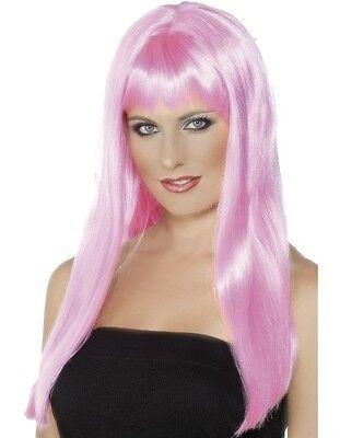 Damen Mystique Kostüm Perücke Pink Junggesellinnenabschied von Smiffys Neu (Mystique-kostüm)