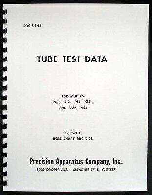 Precision Tube Test Data For 910 912 914 915 920 922 954 Tube Testers