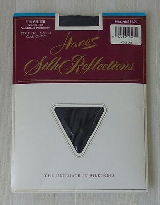 HANES Silk Reflections Sandalfoot CONTROL TOP Pantyhose #717 NAVY Size AB