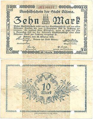 Altona Hamburg, 1 Schein Notgeld 1918, 10 Mark Aushilfsschein