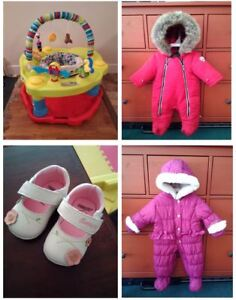 baby winter jacket/exer saucer and shoes for 0-6months