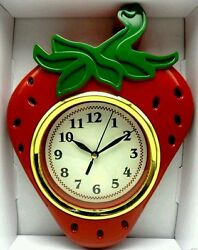 Modern  STRAWBERRY WALL CLOCK,DECORATIVE,STYLISH,HOME,OFFICE,COUNTRY KITCHEN,