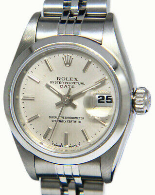 Rolex Date Stainless Steel Silver Index Dial Ladies 26mm Watch 69160