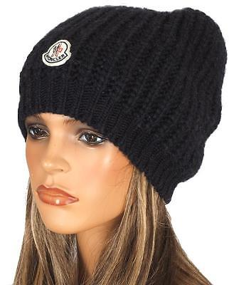 NEW MONCLER SOFT CABLE KNIT ALPACA WOOL LOGO BEANIE HAT ONE SIZE UNISEX