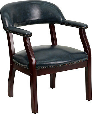 Navy Vinyl Guest Conference Office Desk Side Chair