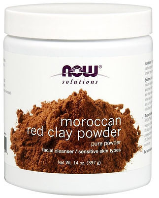 Foods Red Clay Powder - Now Foods Solutions, Moroccan Red Clay Powder, Facial Mask, 14 oz (397 g)