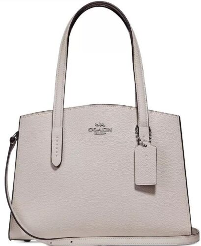 Coach Charlie Chalk Silver Leather Carryall Tote Bag