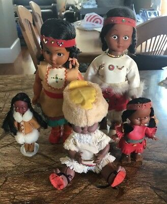 Vintage 1960's-1970's Native American / Eskimo Dolls (Bundled Lot)