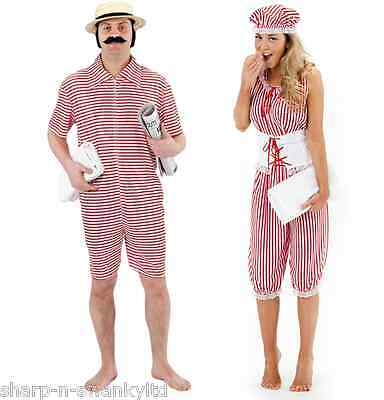 Mens AND Ladies Couples 1920s Beach Bathing Suit Fancy Dress Costumes Outfits
