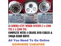 3 X 1200TVL Outdoor HD CCTV Cameras Night Vision + Owsoo or Hissee DVR + 500gb Hard Drive + Cables