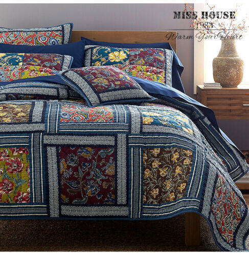 3PCS Country Floral 100% COTTON Patchwork Quilt Coverlet Bed