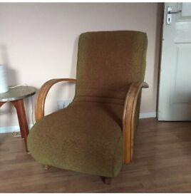 Vintage Mid Century Rocking Armchair Upholstered Halabala Style Retro Wooden Handle operated