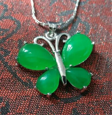 3pc New green butterfly jade pendant ladies couple pendant necklace (Green Jade Butterfly Pendant)