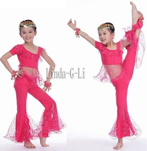 Kids Girls Belly Dance Top+Pants Set Outfit sequins Bollywood Dance Costume USA