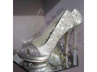 Brand New Designer Menbur Bridal Shoes Hand Embellished With Swarovski Crystals Size 5