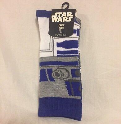 Disney R2D2 Star Wars Droid Crew Tube Socks Adult Size 8-12 Single Pair NEW NWT