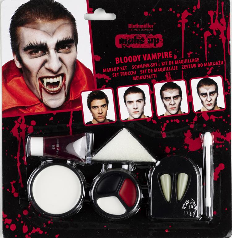 Vampir Make Up Set mit Blut Zähne Farbpalette Schwamm Halloween Dracula Party