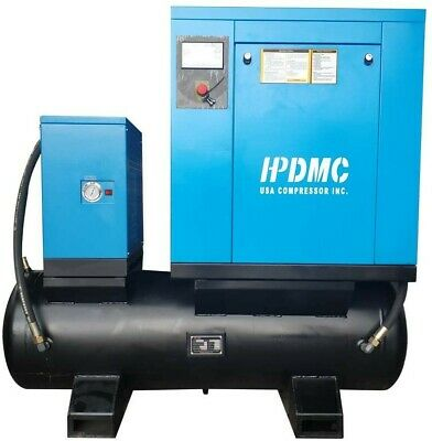 10 Hp Industrial Rotary Screw Air Compressor Tank Refrigerated Dryer