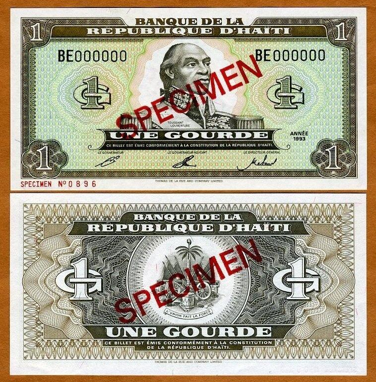 Specimen, Haiti, 1 Gourde, 1993,  P-259s UNC