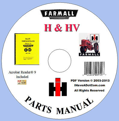 Farmall H Hv Tractor Parts Manual New No Grease