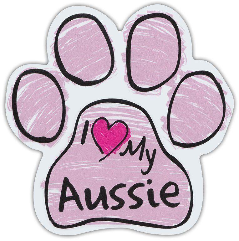 Pink Scribble Paws: I LOVE MY AUSSIE (AUSTRALIAN SHEPHERD) | Dog Paw Car Magnets