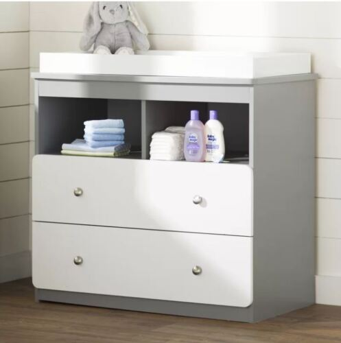 Diaper Changing Table Baby Nursery Dresser Organizer Storage Drawer Gray White