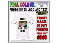 Your Image Text Photo On A TShirt - Custom T Shirt Printing Personalised Stag Hen Party Gift Fun