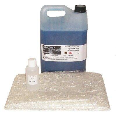 5kg de resine polyester  iso. avec 6,5m2 de mat de verre avec catalyseur.