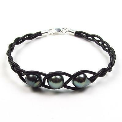 "7.5"" 8-9mm Tahitian Black Pearl Braided Genuine Leather Cord Bracelet"