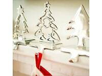 Metal Christmas tree stocking hangers set of 2