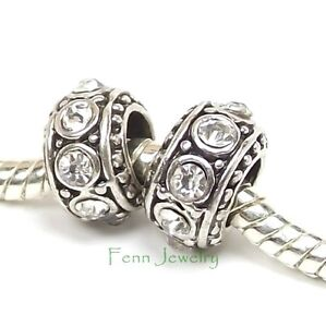 2 White Rhinestone Charms Silver Spacers Big Hole fit European Charm Bracelet 48