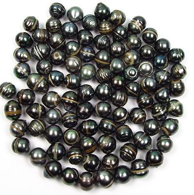 10 pcs 10-11mm Undrilled Circle Baroque Loose Tahitian Black Pearl