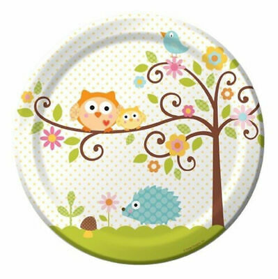 Happi Tree Baby Shower Sweet Baby Owl Paper 8 Ct Plates Lunch 9