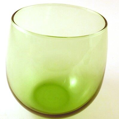Libbey Green Roly Poly Glasses Set Of 2 Round Glass 4.5 Inches Tall Drinkware - $7.91