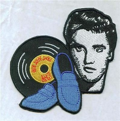 4 INCH ELVIS BLUE SUEDE SHOES  IRONON PATCH BUY 2 GET 3