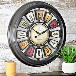 Colorful Kaleidoscope Deco Wall Clock w/Plaques ~ Open Back ~ Battery ~ 22.5