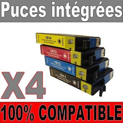 Lot De 4 Cartouches Compatibles Non-oem 18 Xl ( T1811 T1812 T1813 T1814 T1816 )