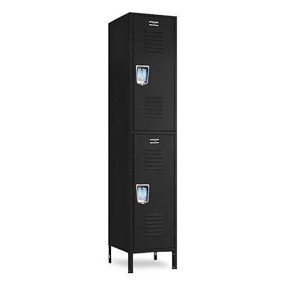 Black Double Stacked Metal Lockers 12w X 12d X 3672h-78h Wlegs
